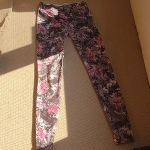 Pink black floral print with gray & white leggings